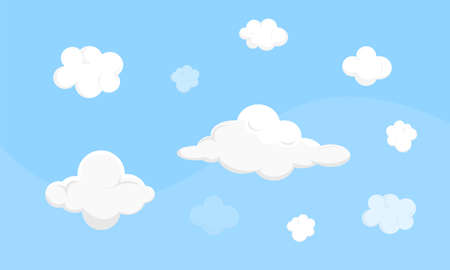 Cute vector different clouds on blue sky. Game assets isolated on plain background.