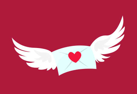 A Vector flying mailbox with wings icon on the red background. Valentine day Game adventure asset. Illustration