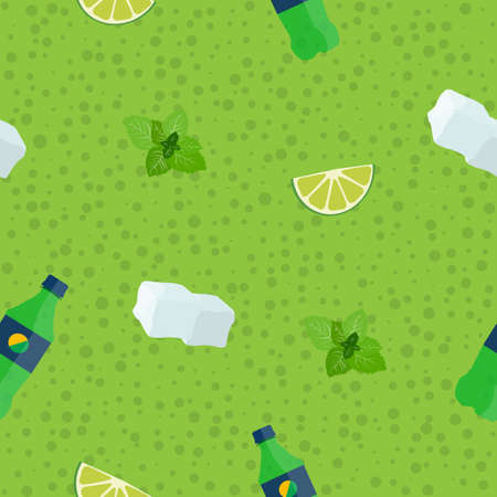 ASeamless, Racy Mojito Ingredients on the green pattern background Vector illustration.