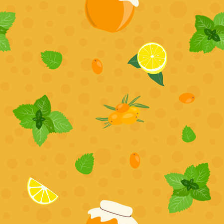Pattern, fresh sea-buckthorn lemon jam and mint on the bubbly background Vector illustration.