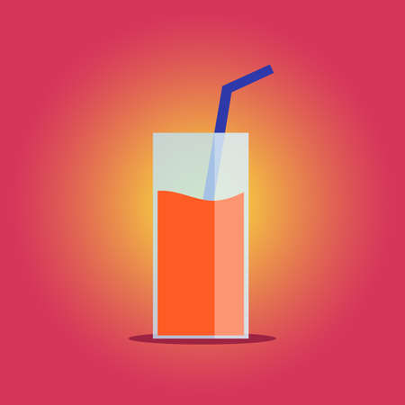 Refreshing orange lemonade on pink background Vector Illustration. Çizim