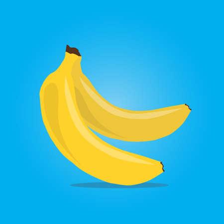 Bunch of ripe bananas on blue background. Vector Illustration. 일러스트