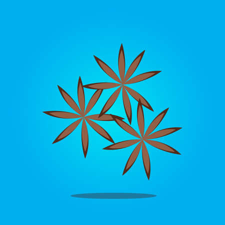 Spicy fragrant star anise on a blue background. Vector Illustration. Illustration