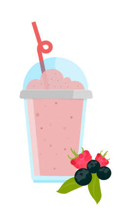 Sour berry milkshake with chocolate in cup with cap and straw Vector illustration.