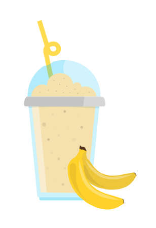 Tender banana milkshake with chocolate in cup with cap and straw. Vector illustration. 일러스트