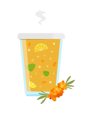 Fresh hot sea-buckthorn tea with lemon honey and mint. Vector illustration.