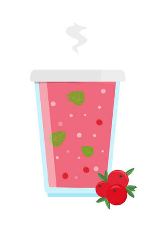 Vitaminic cranberry tea with clove hibiscus and mint. Vector illustration. Illustration