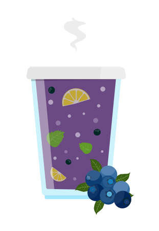 Aroma hot bilbery tea with lemon honey and mint. Vector illustration. Illustration