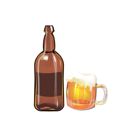 Bottle of beer with a beer mug on a red background