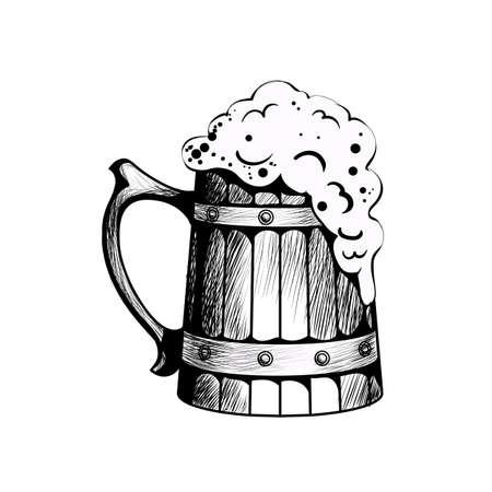 Wooden beer mug with beer foaming in it