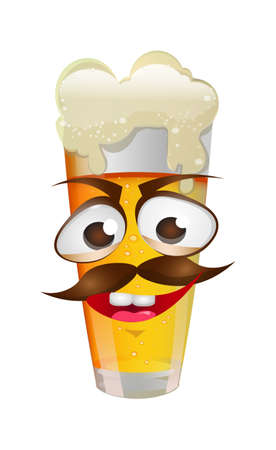 A Vector image of funny face with mustache on the beer glass. Illustration