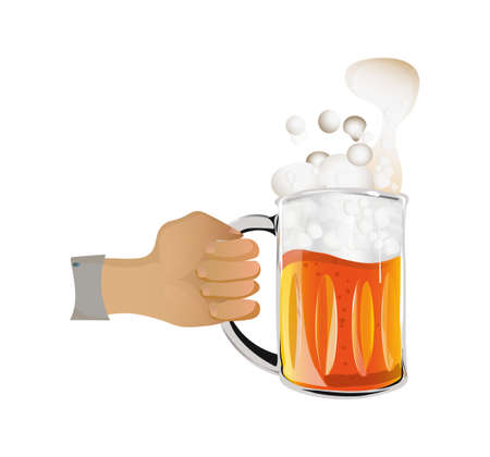 A Vector image of a glass of beer in hand