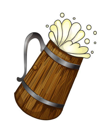 A Vector image of frothy beer in woody cup Illustration