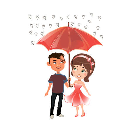 Man and woman standing under an umbrella. Rain of hearts. Illustration