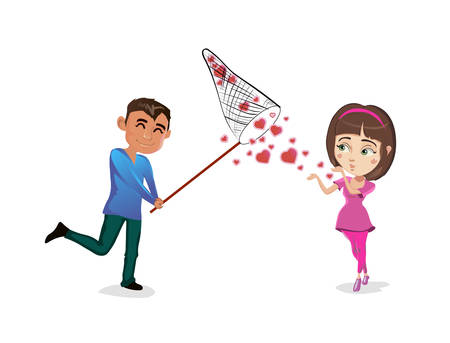 A Vector illustration guy catches with net from a girl hearts.