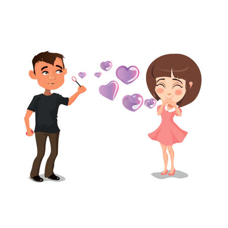 Enamored guy and the girl with soap bubbles