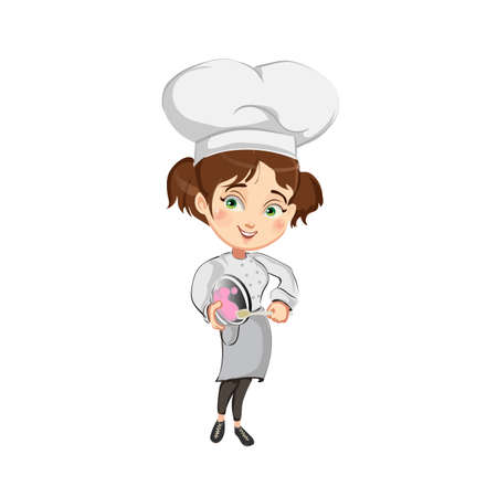 Girl chef  is whisking the cream in a large chef hat.