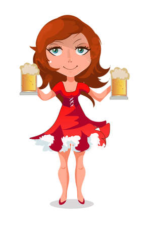 Young waitress with two beer mugs. She is young and very effective.