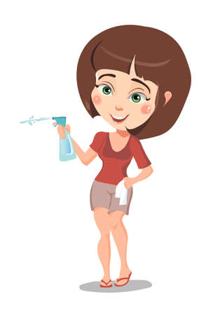 Cheerful girl in short shorts, squirting water from a spray bottle 일러스트