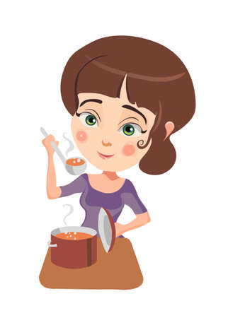 Raster image of the pretty girl cooking dinner. Illustration