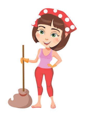 Raster image of the pretty girl cleans the house. 일러스트