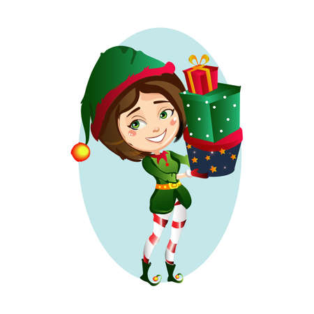 Christmas girl elf holding 3 gift in funny clothes