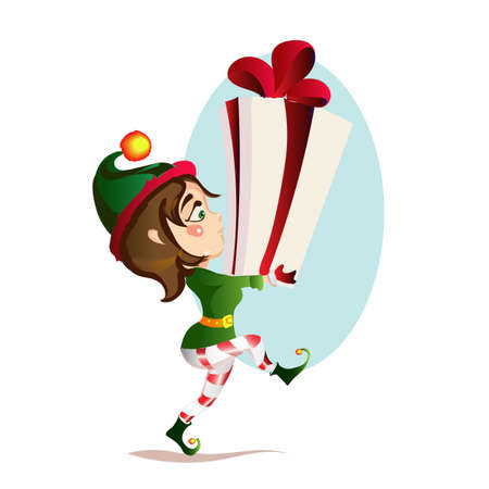 Christmas girl elf is bear to a great gift
