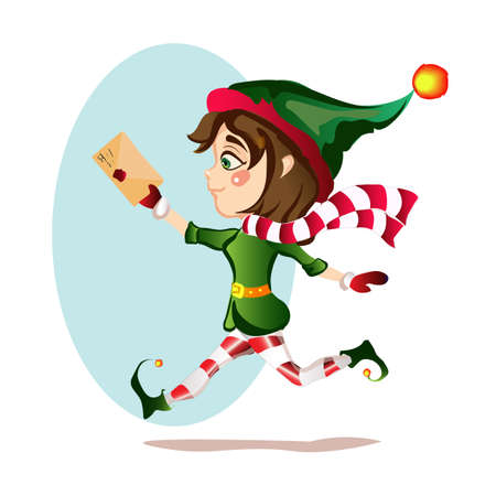 Christmas girl elf runs with magic courtesy letter  イラスト・ベクター素材