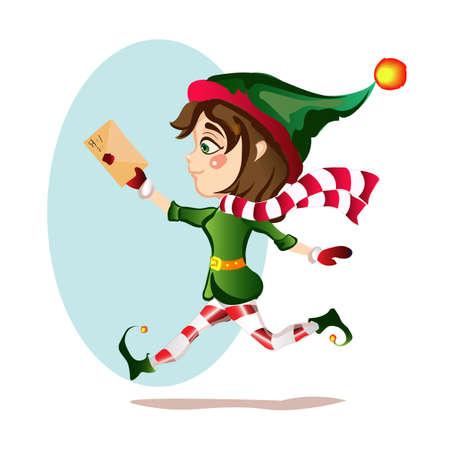 Christmas girl elf runs with magic courtesy letter Illustration
