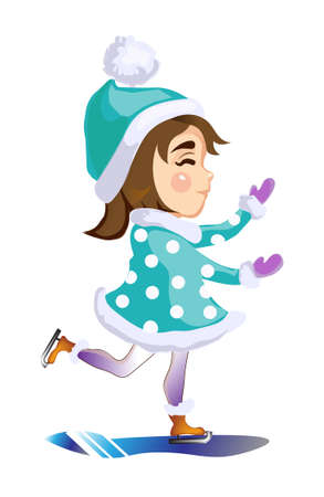 Beautiful happy girl on the ice skates at the rink Illustration