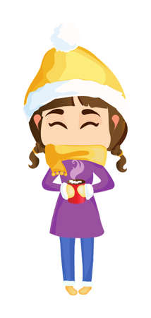 Beautiful girl in winter clothes warms himself with a cup of delicious tea Illustration