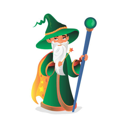 Magician in a green hat with a stick and a magic wand. Stock Illustratie