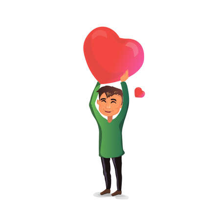 man holding a very big heart over his head Ilustrace