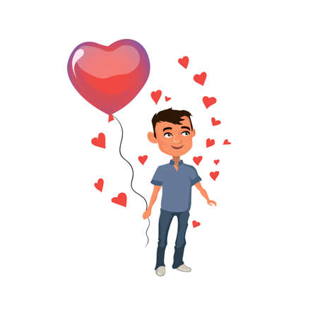 Man standing with balloon in the shape of a heart.