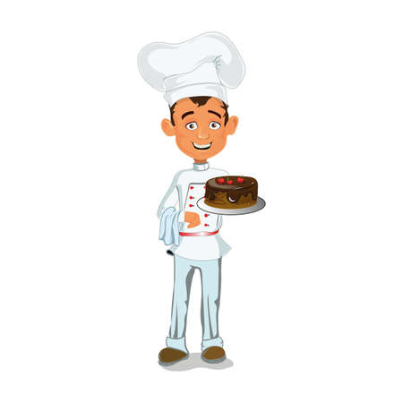 The Chef is in tunics with a delicious chocolate cake with cherries