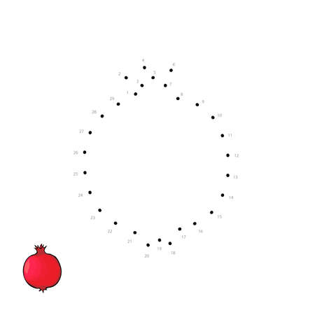 A Vector outline of ripe red pomegranate for kids drawing. Child educational game page.