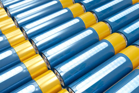 Top view lithium cell batteries on the conveyor production. 3D render storage of shiny rechargeable accumulators. Banque d'images