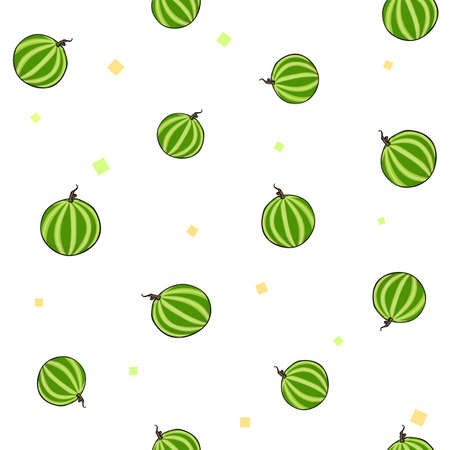 Pattern set of juicy sweet watermelons on yellow background. Vector illustration.