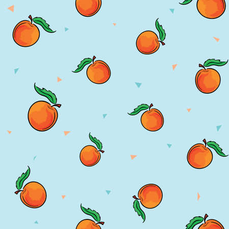 Tile set of ripe vegetarian peaches on blue background with colorful triangles. Vector illustration.