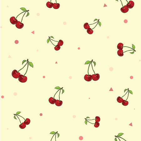 Pattern set of couple of juicy cherries on the petiole on the pink background with dots and triangles. Vector illustration.