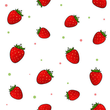 Tile set of juicy strawberries on the white background with colorful confetti. Vector illustration.