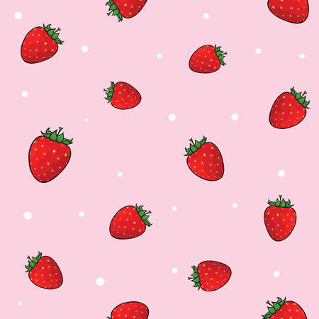 Tile set of juicy strawberries on the pink background with white confetti. Vector illustration.  イラスト・ベクター素材