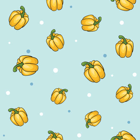 Seamless vegetables set of sweet yellow peppers on blue background. Vector illustration.