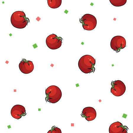 Seamless vegetables set of tomatoes on white background. Vector illustration.