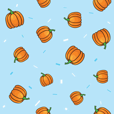 Seamless vegetables set of pumpkins on blue background. Vector illustration.