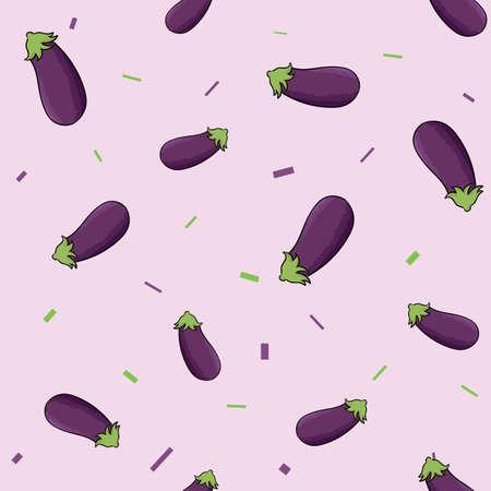 Eggplants seamless pattern illustration.