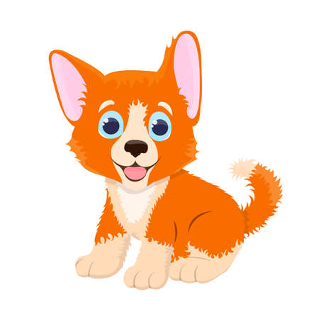 Cute and funny sweet puppy in cartoon vector illustration isolated on the white background.