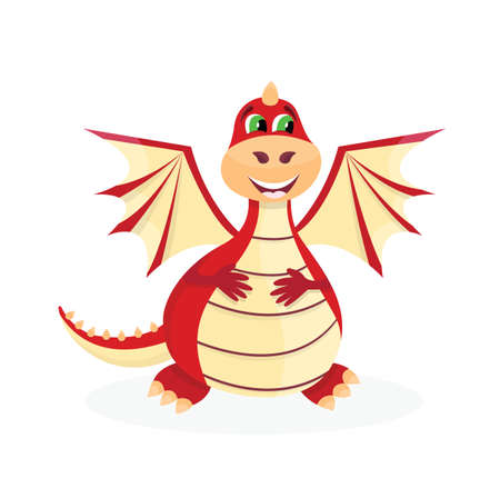 Cute magic cartoon red dragon. Fantastic flying animal. Isolated vector Illustration.
