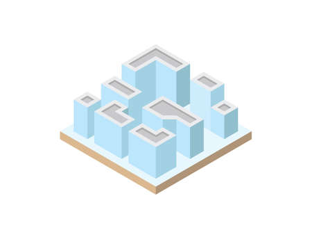 Set of high quality city blocks. Vector illustration of isometric buildings.