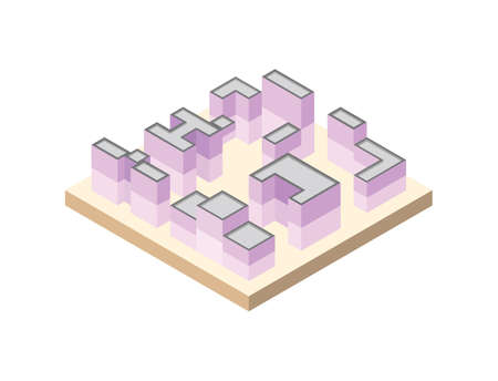 Set of modern pink city blocks. Vector illustration of isometric buildings.
